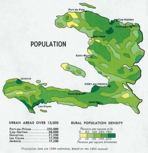 Haiti Population Density Map (1970)
