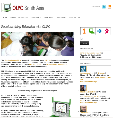 OLPC South Asia homepage